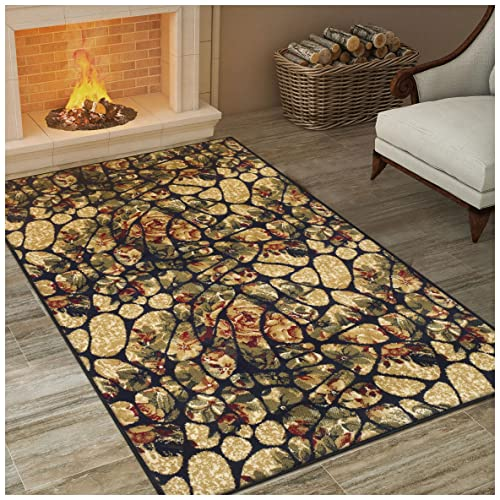 Superior Mosaic Tile Collection Area Rug, Modern Floral Cobblestone Design, 10mm Pile Height with Jute Backing, Affordable Contemporary Rugs – 5 x 8 Rug