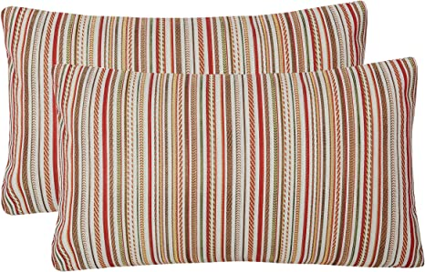 yukore pack of 2 simpledecor throw pillow covers couch pillow shells 12x20 inches jacquard colorful stripes multicolor red