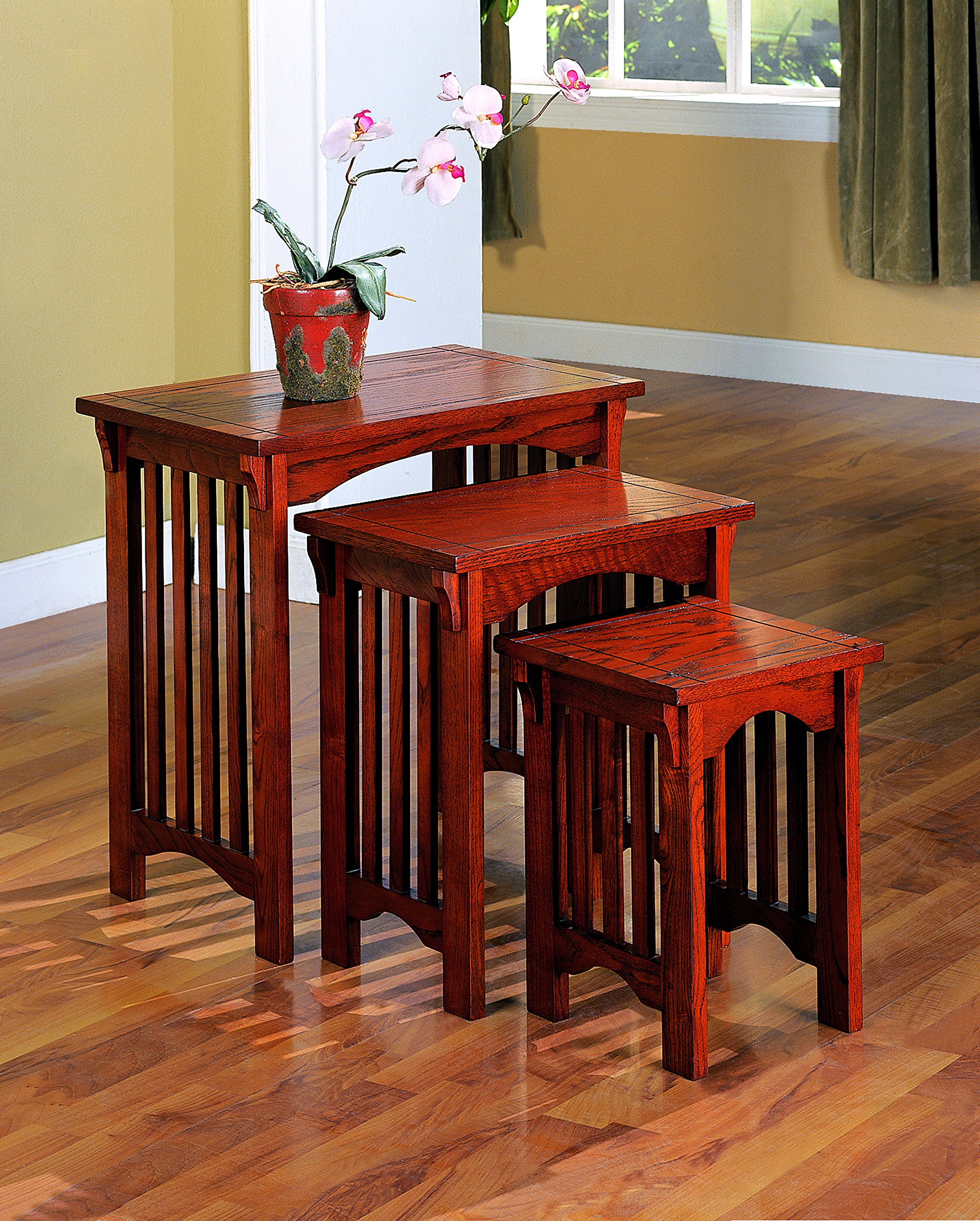 Coaster 901049 3-Piece Mission Style Occasional Nesting Side Table Set, Oak by Coaster Home Furnishings