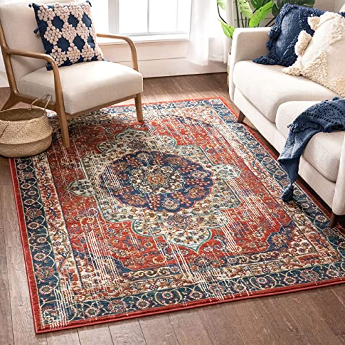 Well Woven Alice Red Traditional Medallion Area Rug 8×10 7'10″ x 9'10″