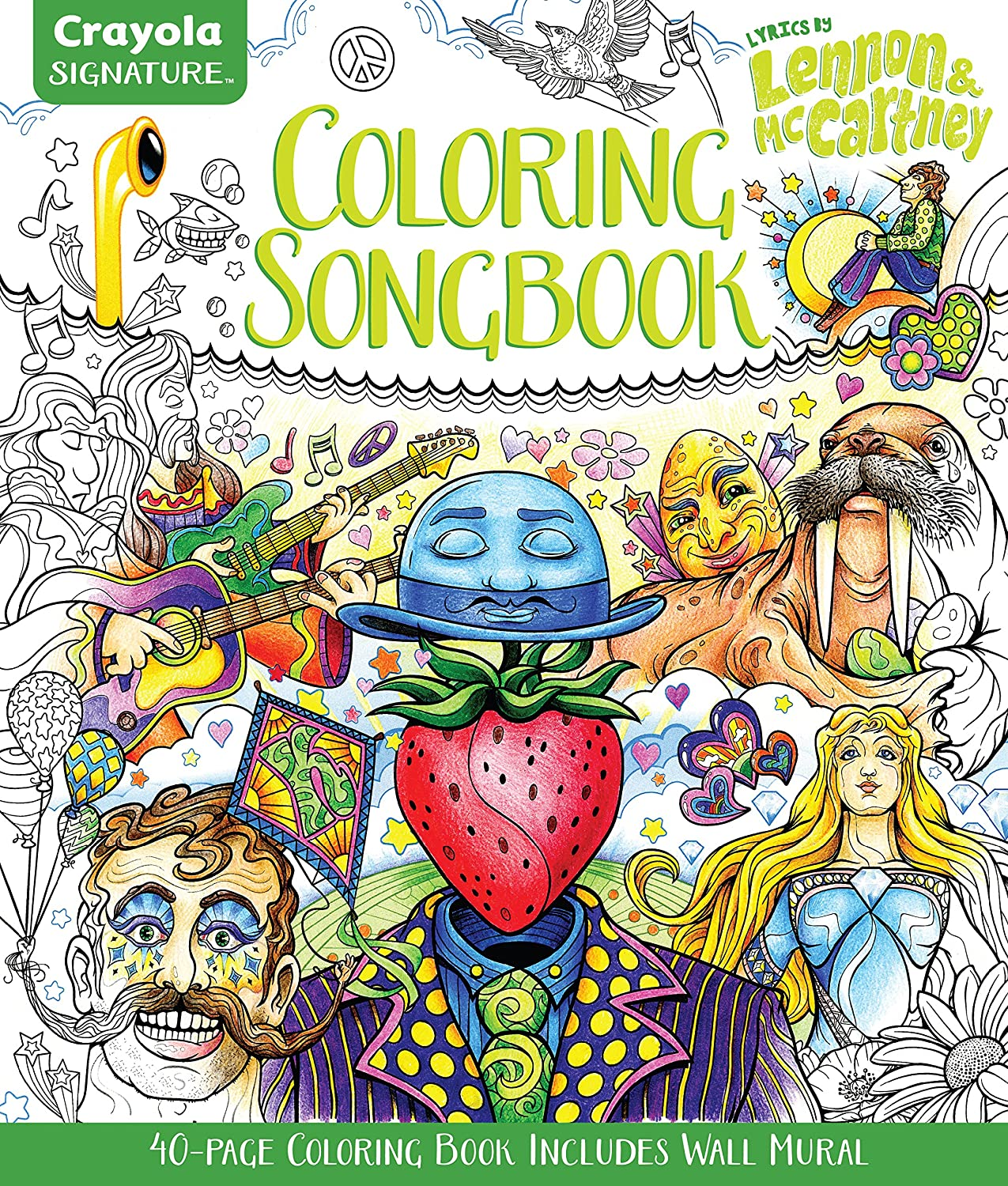 Crayola Coloring Songbook, Lyrics of John Lennon & Paul McCartney, Adult  Coloring Gift, 40 Pages