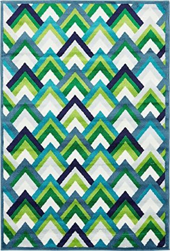Unique Loom Metro Collection Abstract Scales Modern Bright Colors Blue Area Rug 4 0 x 6 0