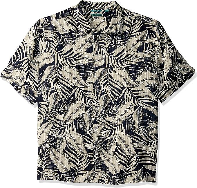 Cubavera Men/'s Short Sleeve Linen-Blend Tropical Floral Print Button-Down Shirt