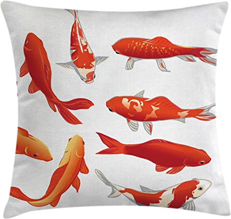 Amazon Com Ambesonne Koi Fish Throw Pillow Cushion Cover Koi Fish Band Chinese Fortune And Power Tranquility Image Decorative Square Accent Pillow Case 20 X 20 Orange White Home Kitchen