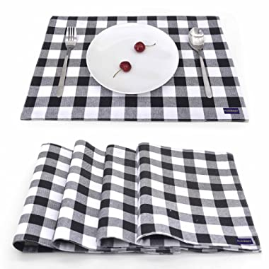 EJIAS Black Checkered Fabric Placemats Set of 4 Durable Washable Soft Cloth Placemats for Dining Table Waterproof Heat Resistant Table Mats 18 X 12 Inch