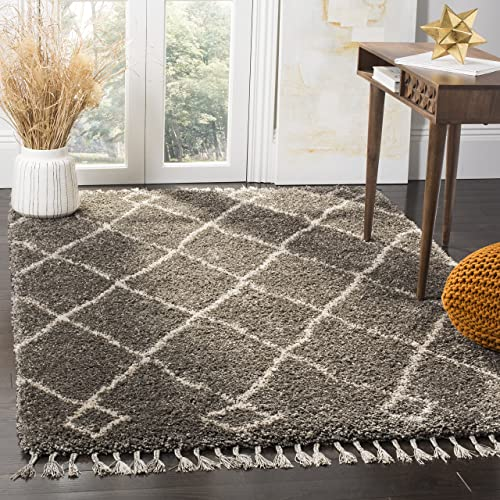 Safavieh Moroccan Fringe Shag Collection MFG241A Grey and Cream Area Rug 8' x 10'