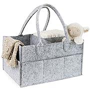 Bananoo Diaper Caddy - Baby Nursery Organizer - Portable Car Travel Bag - Storage Bin for Changing Table - Baby Shower Gift Basket - Boy Girl Newborn Registry Must Haves - Premium Felt, Gray