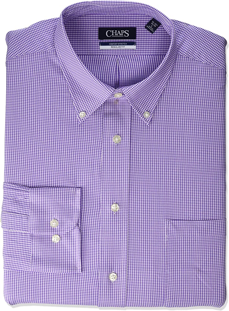 Chaps Mens Dress Shirt Regular Fit Stretch Check, Purple, 16 ...