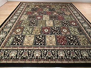 Large Traditional 8x11 Rug Black Multi Color Area Rug 8x10 Carpet Floor Rug  Persian Rugs
