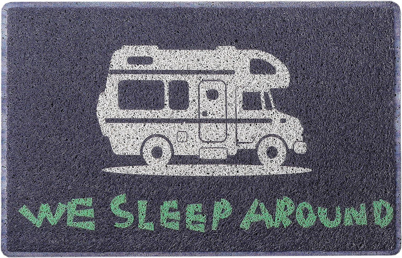 Aucuda Happy Camper Door Mat Welcome Mat for Front Door, RV, Camper Indoor Outdoor,24