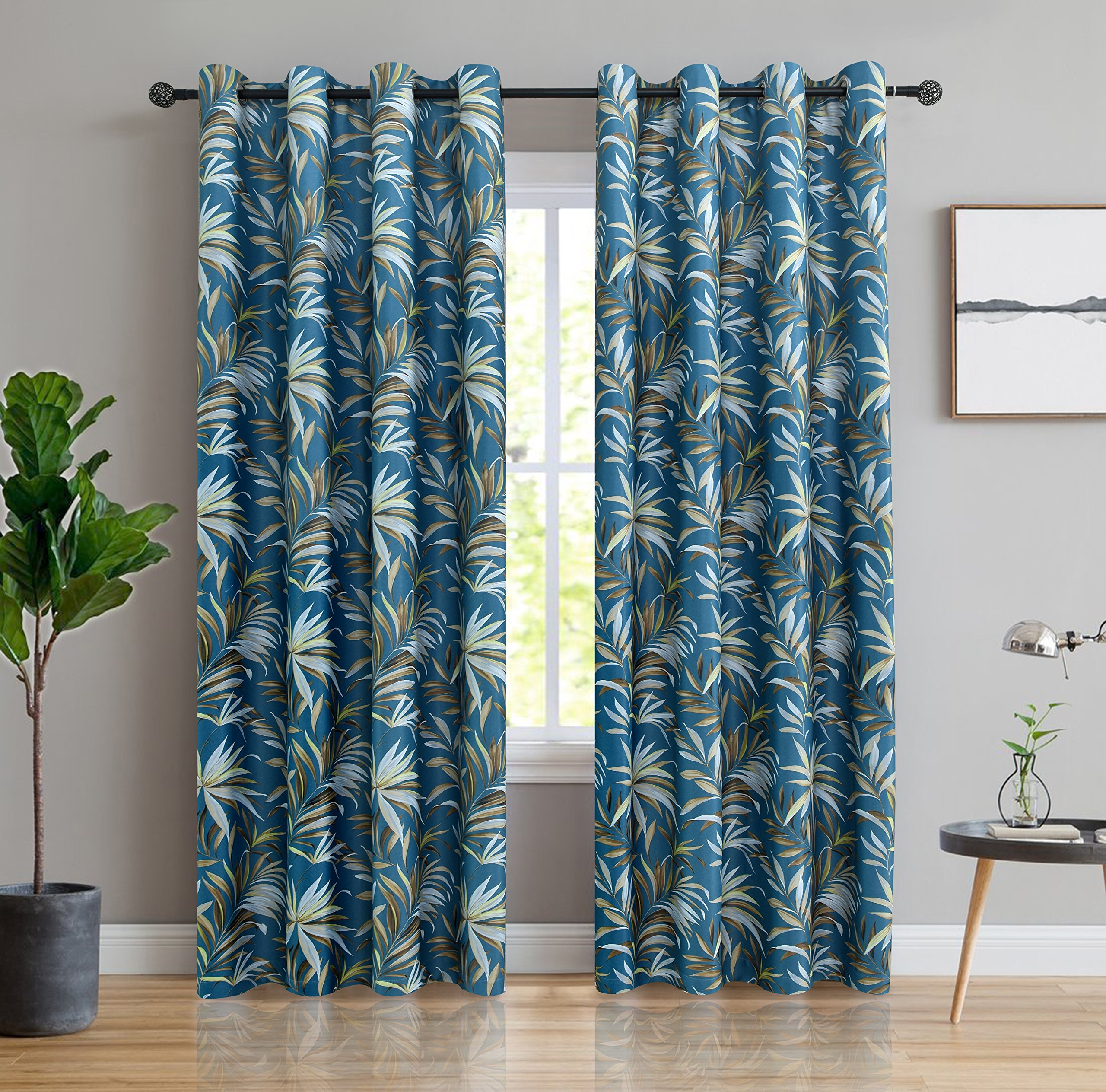 ITEXTILOGIE Blackout Grommet Print Curtains for Bedroom Room Darkening Thermal Insulated Curtain Noise Reducing Panels Window Draperies for living room(2 Panels,53x63 inch Each Panel,Bamboo)