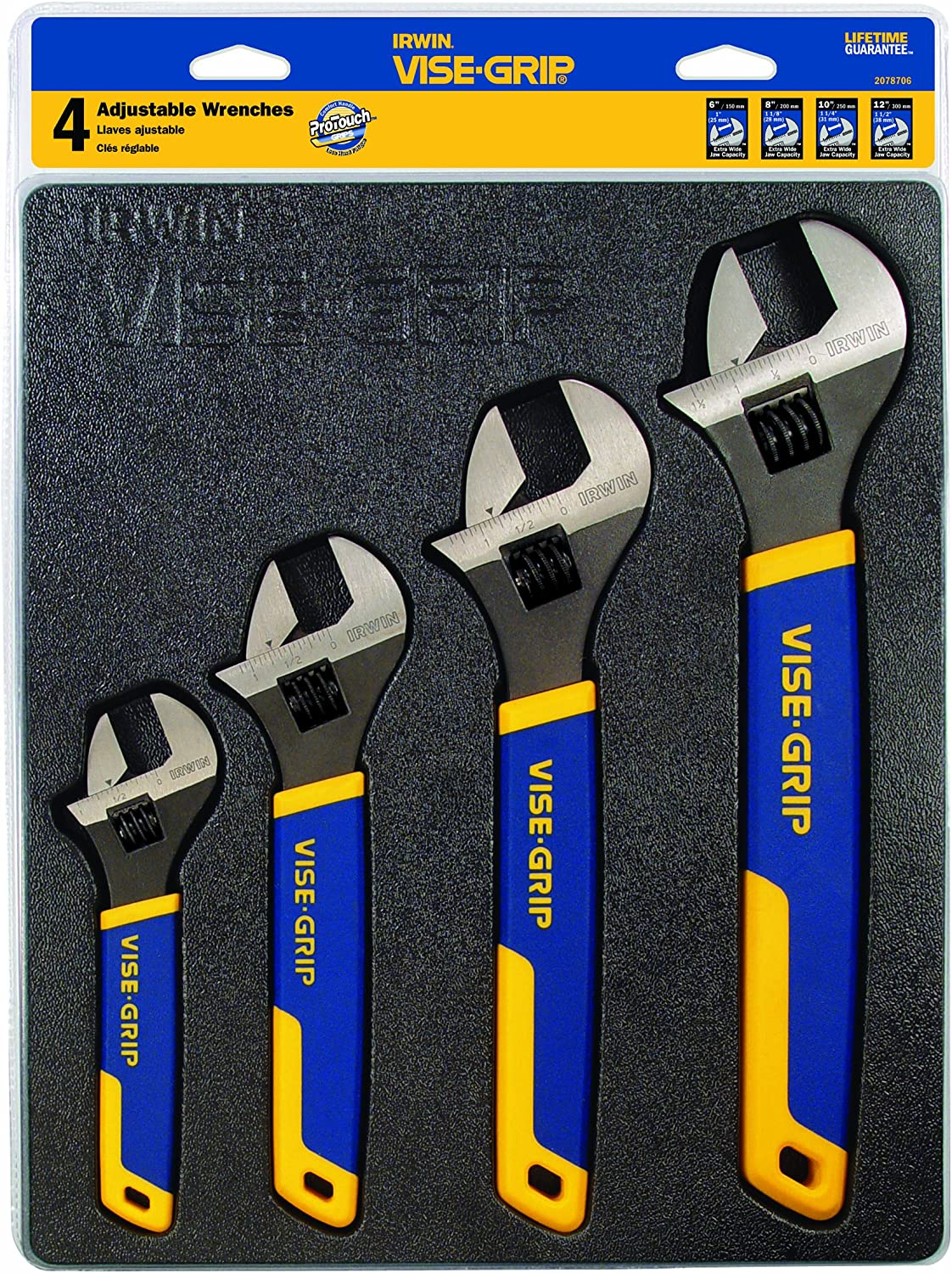 IRWIN Adjustable Wrench 4 piece set