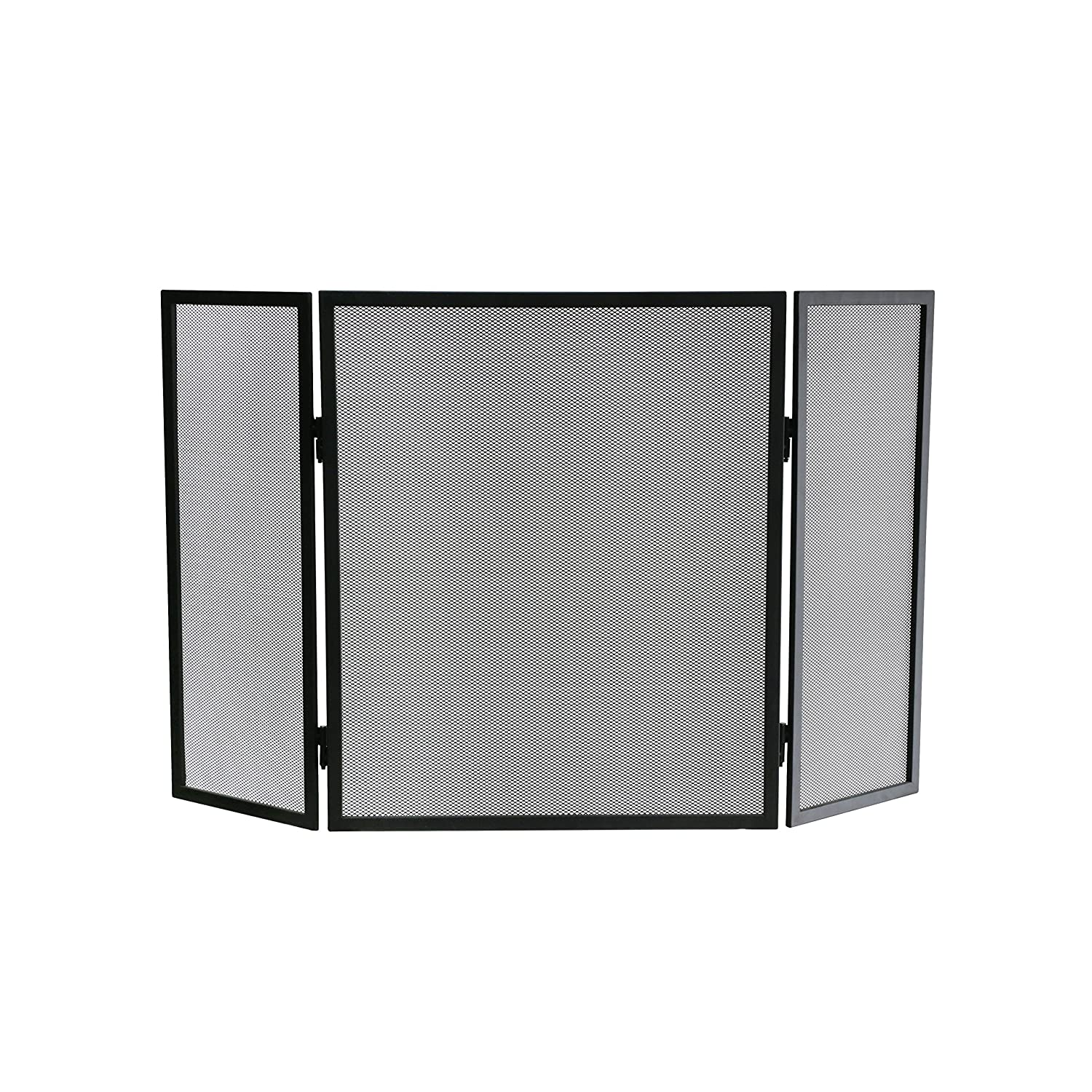 Kamino-Flam Fireplace Spark Guard, Powder-coated Iron Fire Screen with Stainless Steel Fine Grid, Fireguard for Fireplace and Stove, Free-standing 3-fold Surround Screen, approx. 96.5x2x61cm, Black Kamino - Flam 125401