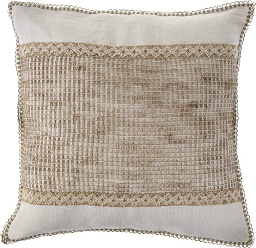 LR Home Color Block Throw Pillow, 20 x 20 , Off-White Tan