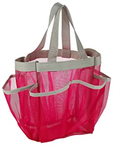 7 Pocket Shower Caddy Tote, Pink - Keep your shower essentials within easy reach. Shower caddies are perfect for college dorms, gym, shower, swimming and travel. Mesh allows water to drain easily.