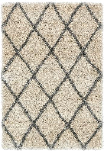 Unique Loom Opulence Trellis Shag Collection Plush Geometric Modern Moroccan Beige Area Rug 4 0 x 6 0