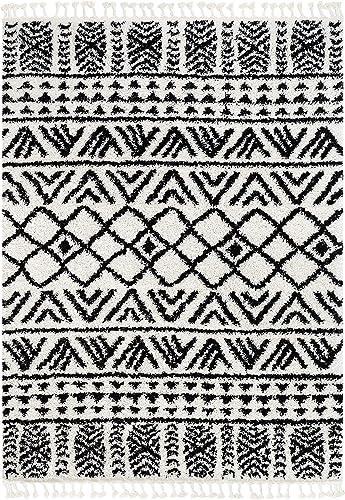 Well Woven Tessa Ivory Moroccan Shag Diamond Trellis Pattern Area Rug 8×10 7'10″ x 9'10″