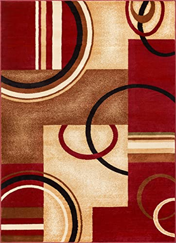 Deco Rings Red Geometric Modern Casual Area Rug 8×10 8×11 7 10 x 9 10 Easy to Clean Stain Fade Resistant Shed Free Abstract Contemporary Color Block Boxes Lines Soft Living Dining Room Rug