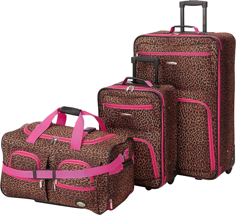 2-Piece Magenta Leopard 14//19 Rockland Fashion Softside Upright Luggage Set