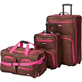 Rockland Vara Softside 3-Piece Upright Luggage Set, Pink Leopard, (20/22/28)