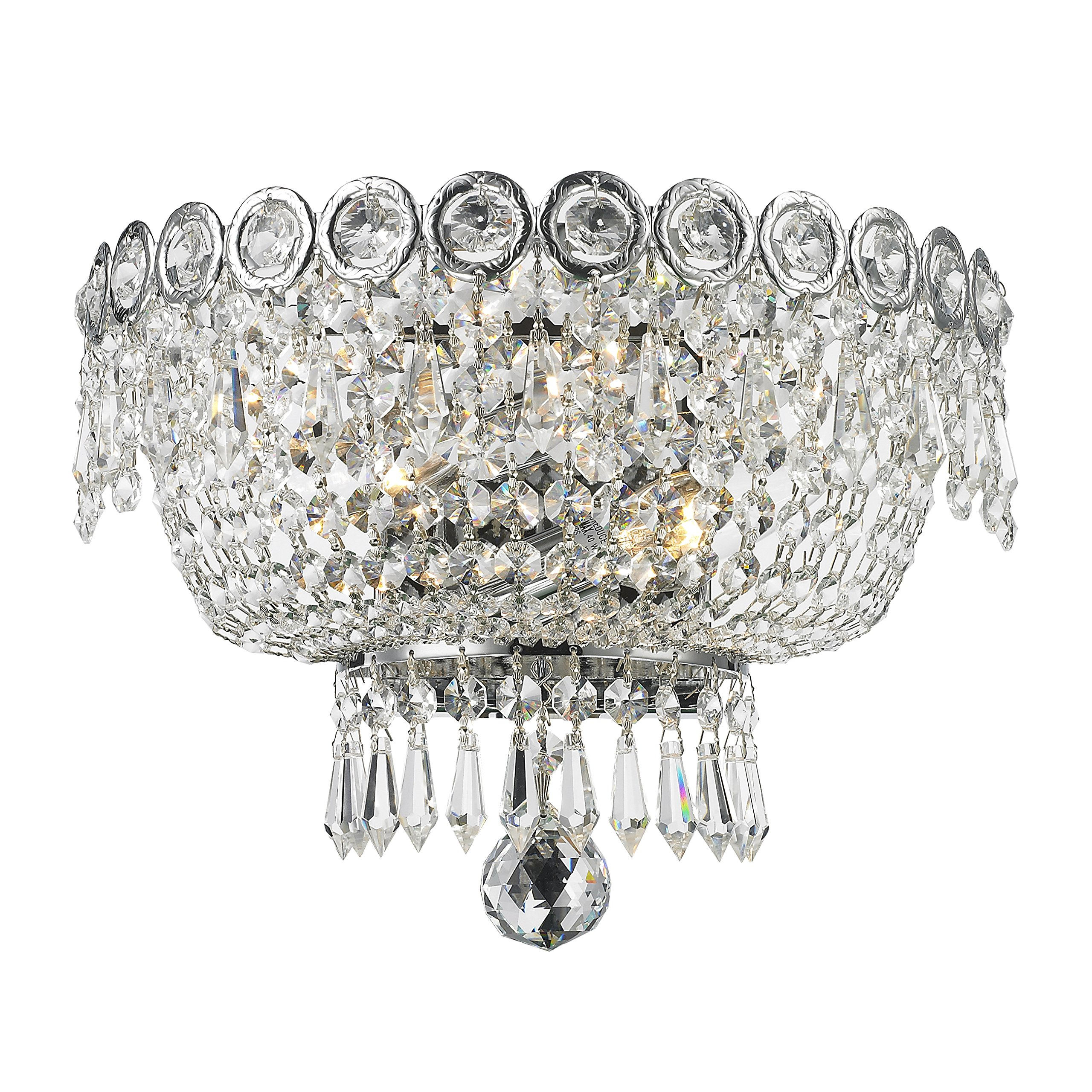 Worldwide Lighting Empire Collection 2 Light Chrome Finish and Clear Crystal Wall Sconce 12'' W x 8'' H Medium by Worldwide Lighting