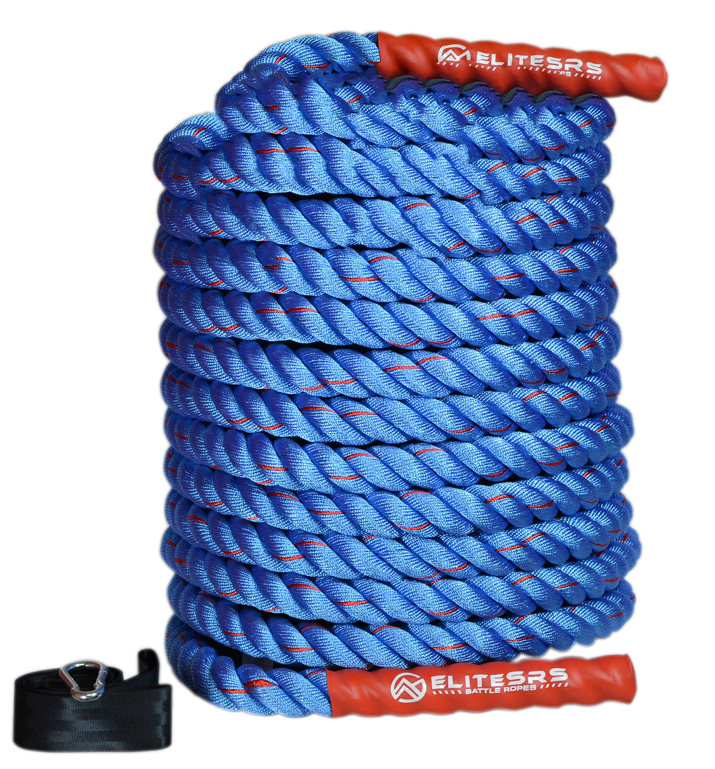 EliteSRS Fitness Battle Ropes with Anchor Kit for Core Exercise, Fitness Rope and Strength Training - 1.5'' or 2'' in 30ft, 40ft or 50ft - Blue/Red 1.5'' x 40ft