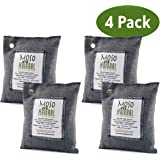 Moso Natural 4 pack 200g Air Purifying Bag Deodorizer. Odor Eliminator for Cars, Closets, Bathrooms and Pet Areas. Absorbs and Eliminates Odors. Charcoal Color