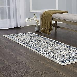 "Home Dynamix Vintage Shilah Runner Area Rug 26""x83"", Distressed Gray/Blue"