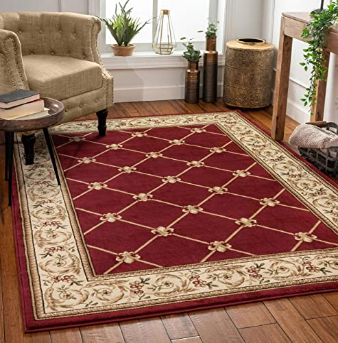 Patrician Trellis Red Lattice Area Rug European French Formal Traditional Area Rug 7 x 9 Easy Clean Stain Fade Resistant Shed Free Modern Classic Contemporary Thick Soft Plush Living Dining Room Rug