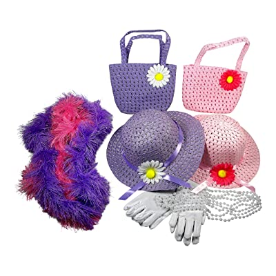 Butterfly Twinkles Girls Tea Party Dress Up Set Hats Purses Boas Gloves Necklaces Pink Purple Morgan: Clothing