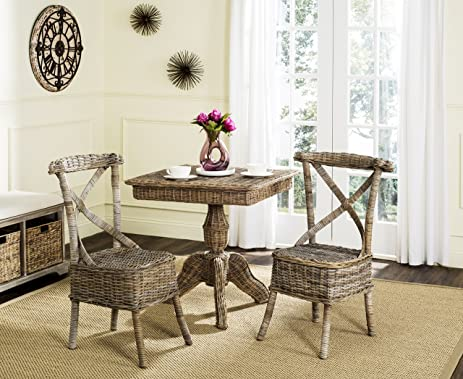 Safavieh Home Collection Katell Grey Wicker Side Chair (Set Of 2), Standard