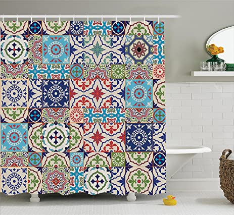 Amazon.com: Ambesonne Moroccan Decor Collection, Patchwork Pattern ...