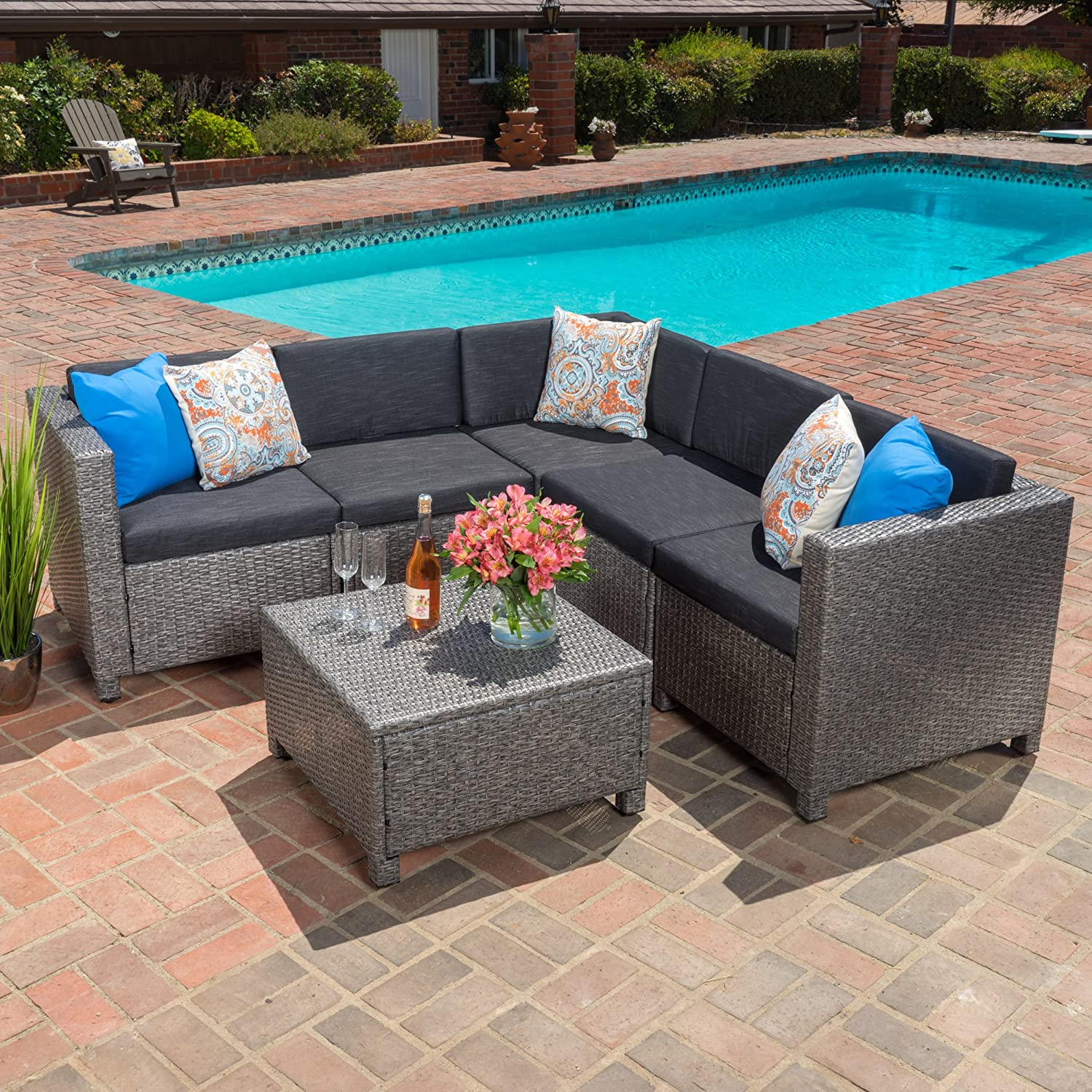 Amazon com venice outdoor patio furniture wicker sectional sofa set w cushions grey and black patio lawn garden