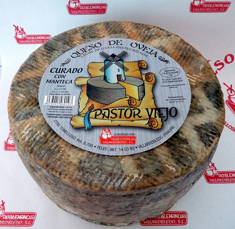 Queso de oveja PASTOR VIEJO Curado con Manteca Roblemancha 3 Kg: Amazon.es: Alimentación y bebidas