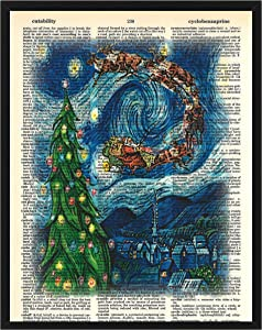Christmas Wall Decor Featuring Santa Clause in Van Gogh's Starry Night Christmas Dictionary Art Print 8 x 10