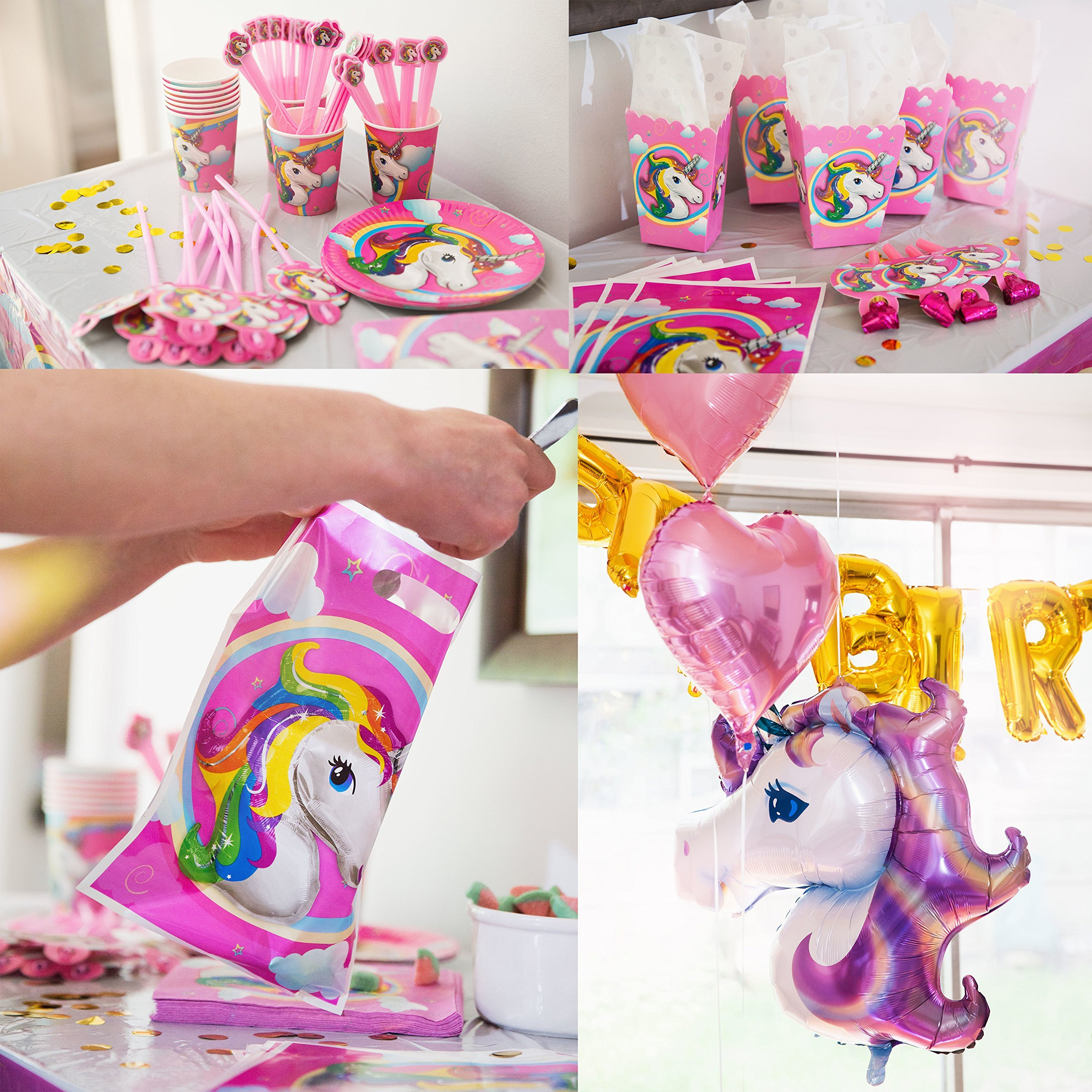 180+ PCS Complete Unicorn Party Supplies & Decorations - Glittery Unicorn Headband | Disposable Tableware Set | 30 Magical Balloons | 24 Pc Unicorn Cupcake Wrappers & Toppers | Party Favors by FETTI FETTI (Image #7)