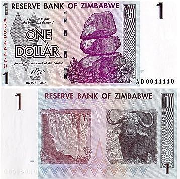 Stampbank La cifra de Billetes para coleccionistas - 1 Billete de dólar Fuera de circulación emitida por el Banco de Zimbabwe / 2007 / UNC: Amazon.es: Juguetes y juegos
