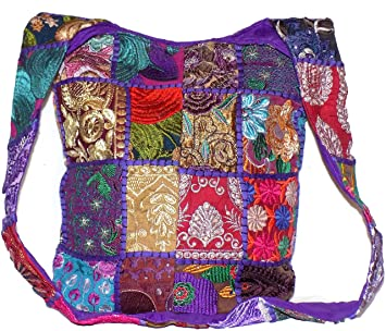 8bd4dadb9f Patchwork Hippie Bag Purple   Multi Colour Patch Sequin Beads Mirror  Embroidered Large Cotton Boho Gypsy