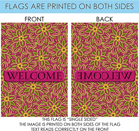 Amazon Com Toland Home Garden Fuchsia Welcome 28 X 40 Inch Decorative Colorful Floral Flower Pattern House Flag Garden Outdoor