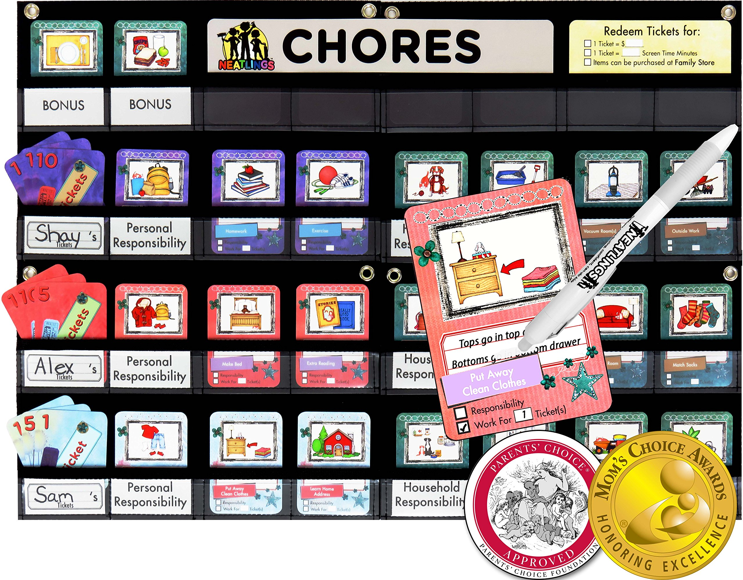 NEATLINGS Chore Chart System | Reward Responsibility | Customize for 1-3 kids | 76 Unique Chores! |Teal Household Chore Cards / Purple, Pink, & Light Blue Self-Care Chore Cards