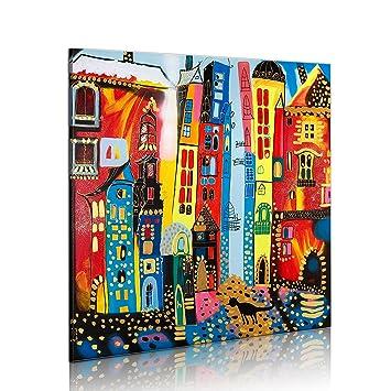 Handgemalte Bilder murando handgemalte bilder auf leinwand stadt 80x80 cm 1 teilig