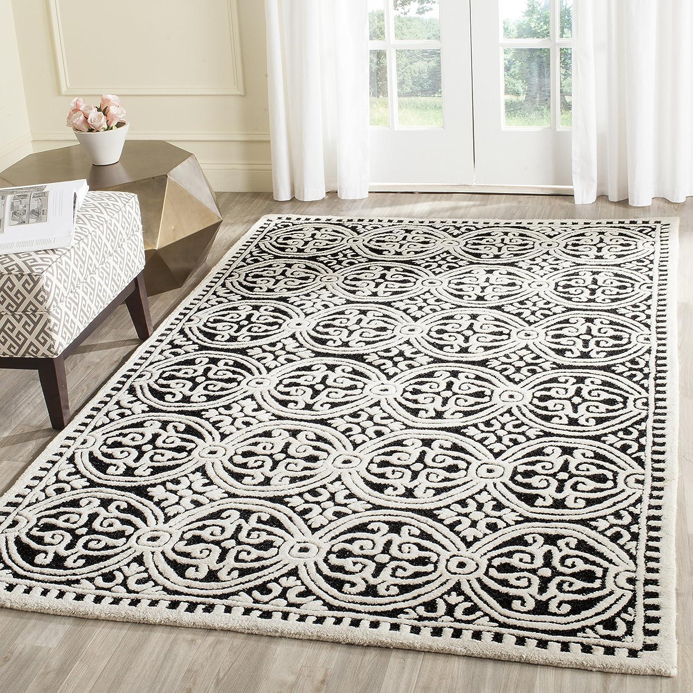 Schwarz  Elfenbein 152 x 243 cm Safavieh Strukturierter Teppich, CAM123, Handgetufteter Wolle, Schwarz   Elfenbein, 160 x 230 cm