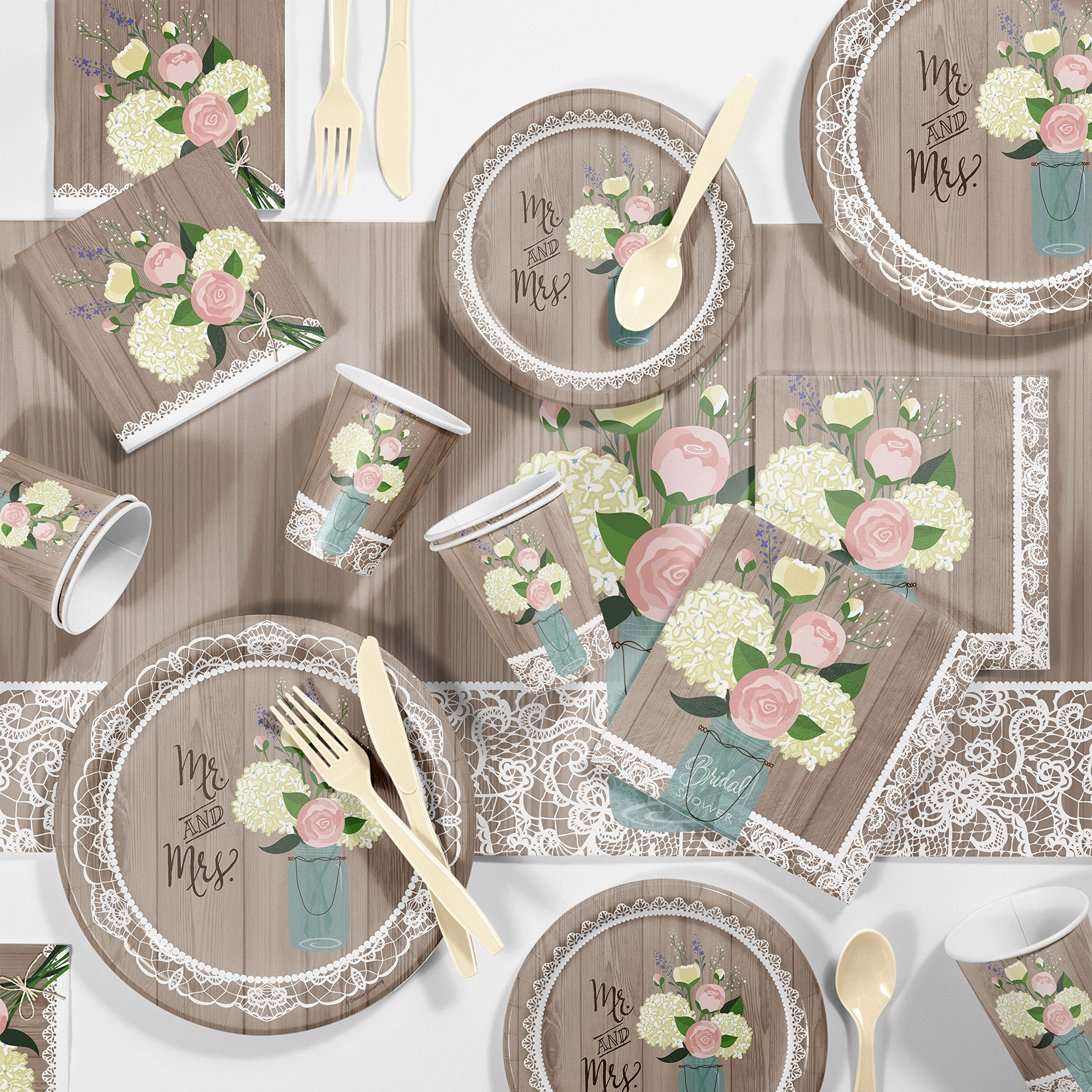 Large Rustic Wedding Bridal Shower Party Supplies Kit, Serves 24
