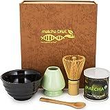 Matcha Tea Gift Box Set - Matcha Tea Ceremony Gift Set by Matcha DNA (Brown) - Comes with 1 oz Organic Matcha Green Tea, a Bamboo Whisk, Ceramic Whisk Holder, Matcha Bowl, and bamboo Spoon.