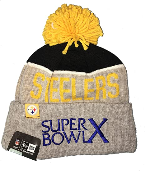 Pittsburgh Steelers  quot Super Bowl X quot  Beanie Hat with POM POM - NFL  Cuffed 70f2a9159e2