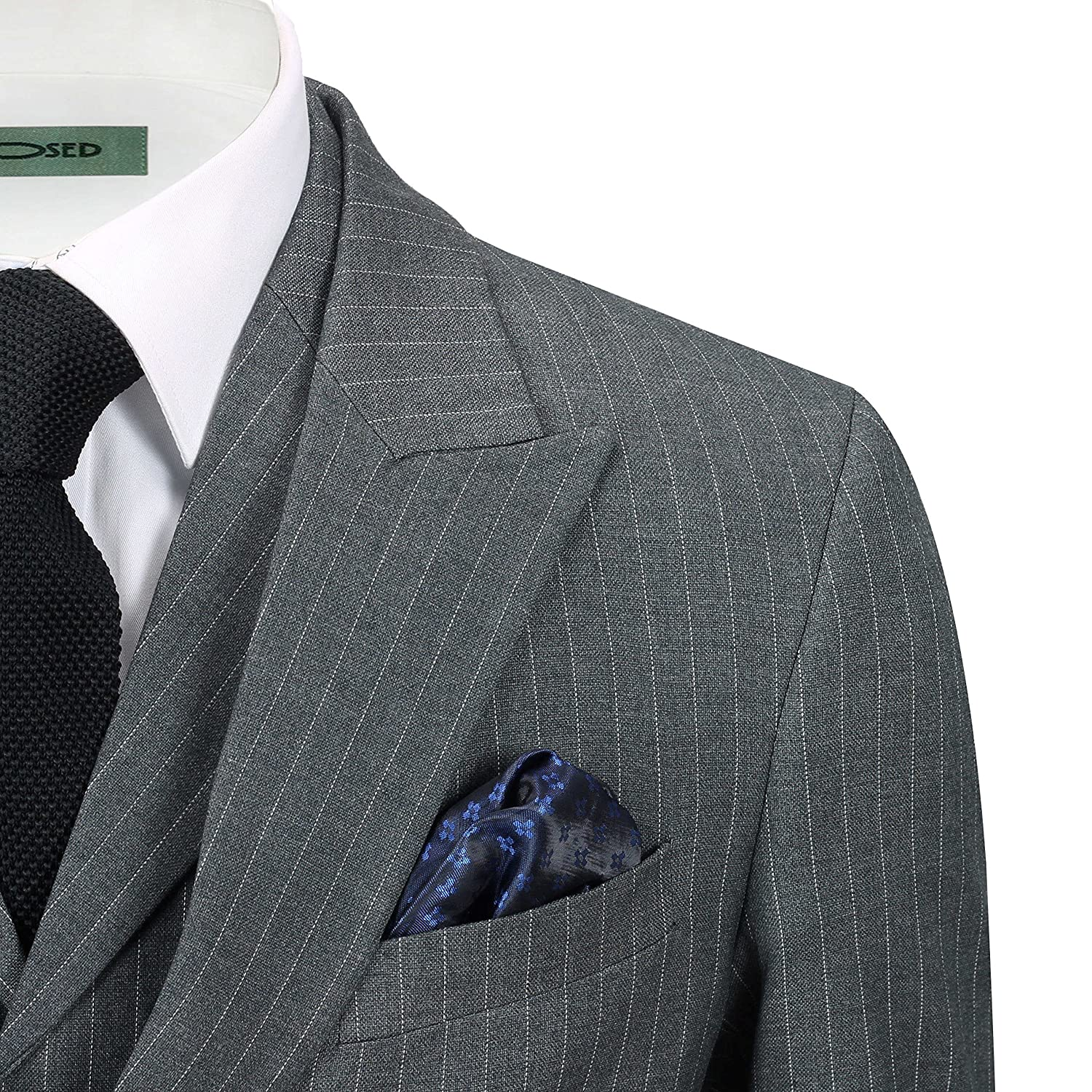 Mens Grey 3 Piece Double Breasted Pinstripe Suit Retro Vintage Blazer Waistcoat Trousers
