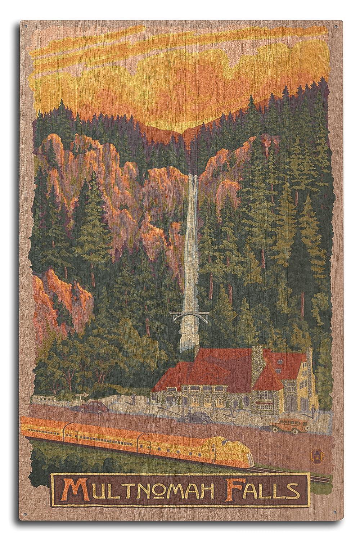 Multnomah Falls View With Train 10 x 15 Wood Sign LANT-31177-10x15W B0736B8F8B 10 x 15 Wood Sign