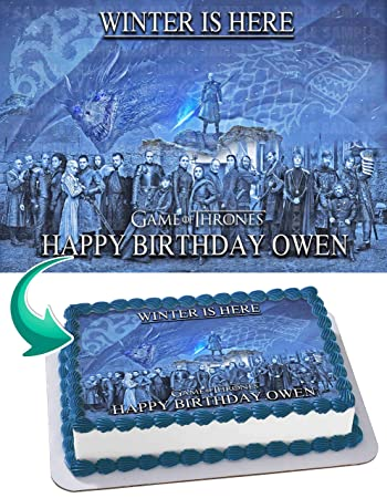 GOT Game Of Thrones Quarter Sheet Edible Photo Birthday Cake Topper