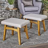 Analise Foot Stool Ottoman | Mid Century Modern, Danish Design | Upholstered in Wheat Fabric (Set of 2)