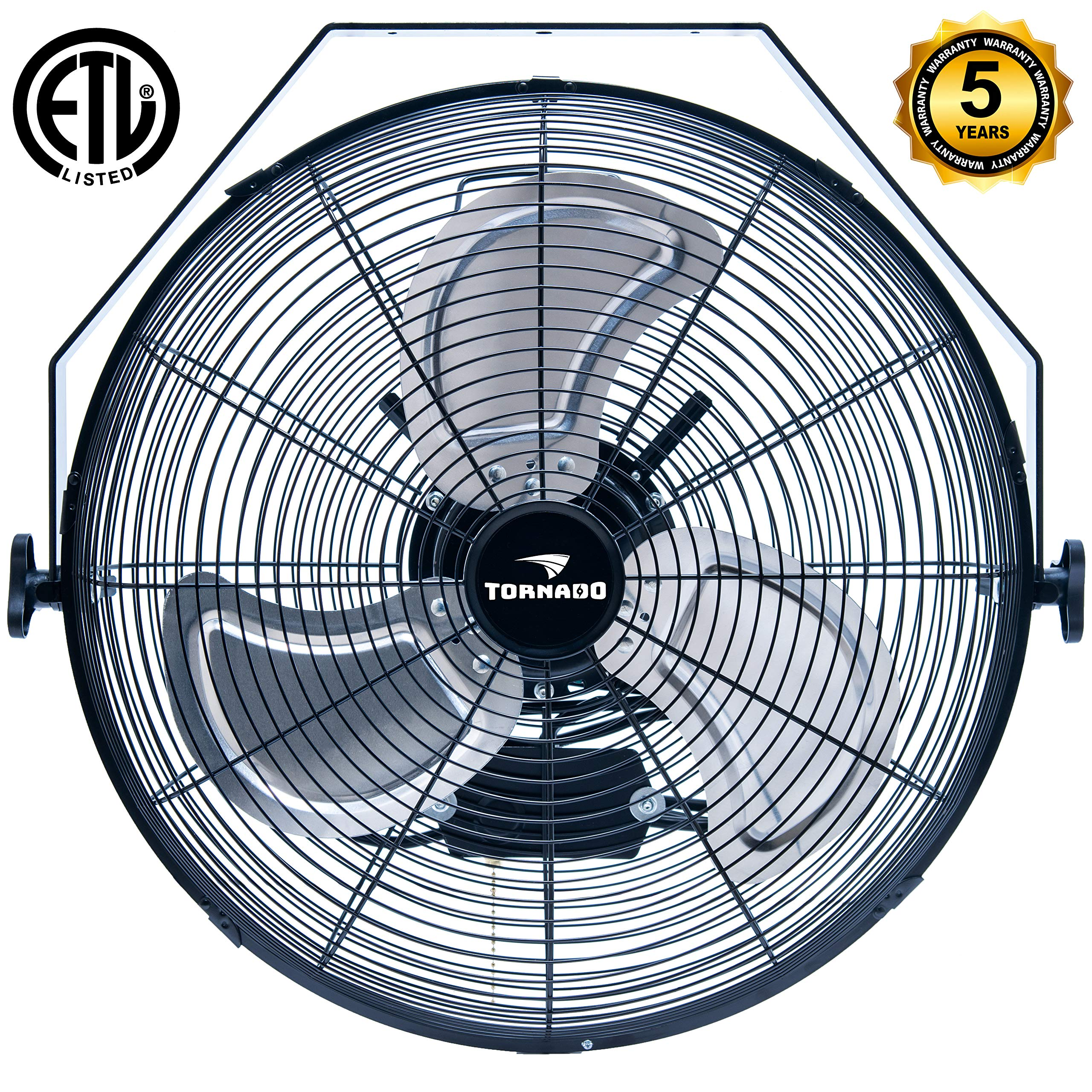 Tornado - 18 Inch High Velocity Industrial Wall Fan - 3 Speed - for Industrial, Commercial, Residential, and Shop Use - ETL Safety Listed - 5 Years Warranty by Tornado